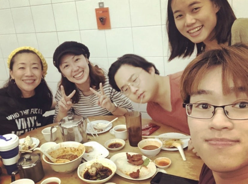 The core team WLJ SG  from left: Aya Sekine, Ashlee Liu, Cui Yihao, Sarah Teh, Alaric Tay (having a meal together after the big rehearsal at Swee Choon!)